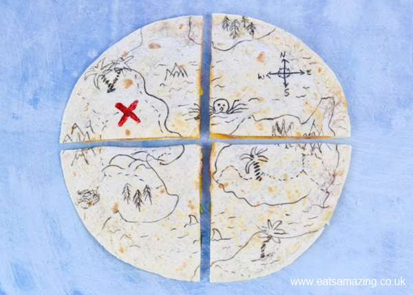 Fun and easy edible pirate treasure map quesadillas - perfect for pirate themed party food snacks and kids lunch boxes too