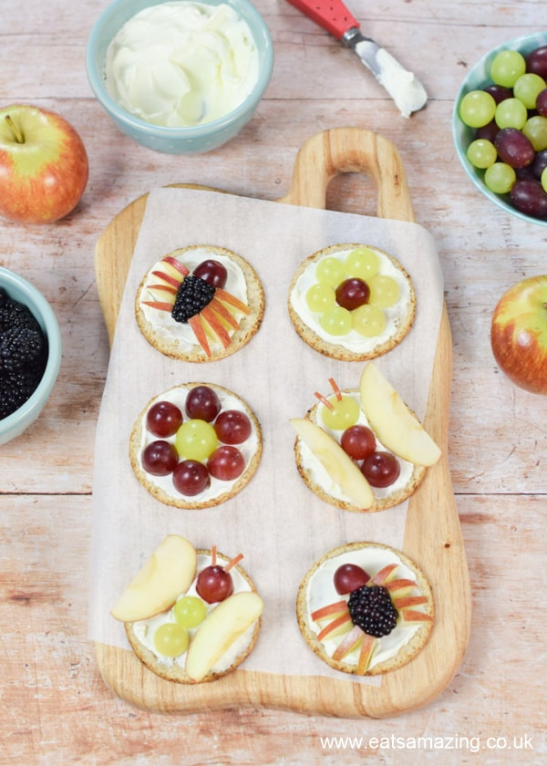 Fun and easy fruity bug oatcakes food art - creative recipe idea for kids that is great for healthy snacks and party food too