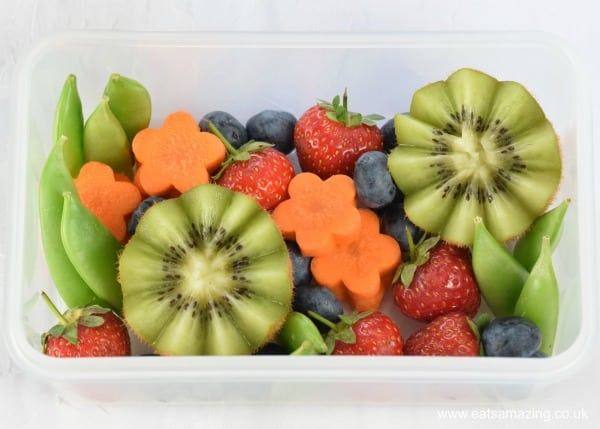 Fun and easy garden themed bento box - cute way to serve up fruit and veg to kids for lunch