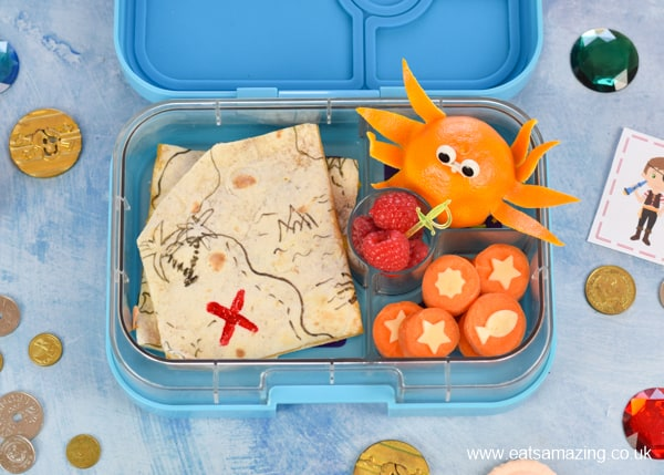 Fun and healthy Pirate lunch box for kids - with recipes and tutorials for edible treasure map quesadillas orange octopus and carrot coins - packed in the Yumbox bento box
