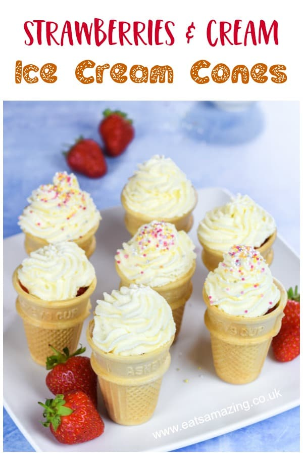 Fun food idea - serve strawberries and cream in an ice cream cone for a fun summer dessert that is perfect for garden parties with kids #summerfood #strawberries #kidsfood #funfood #strawberriesandcream #summerdessert #dessert #teaparty #partyfood #kidsparty #sprinkles #summerparty #summerfair #gardenparty