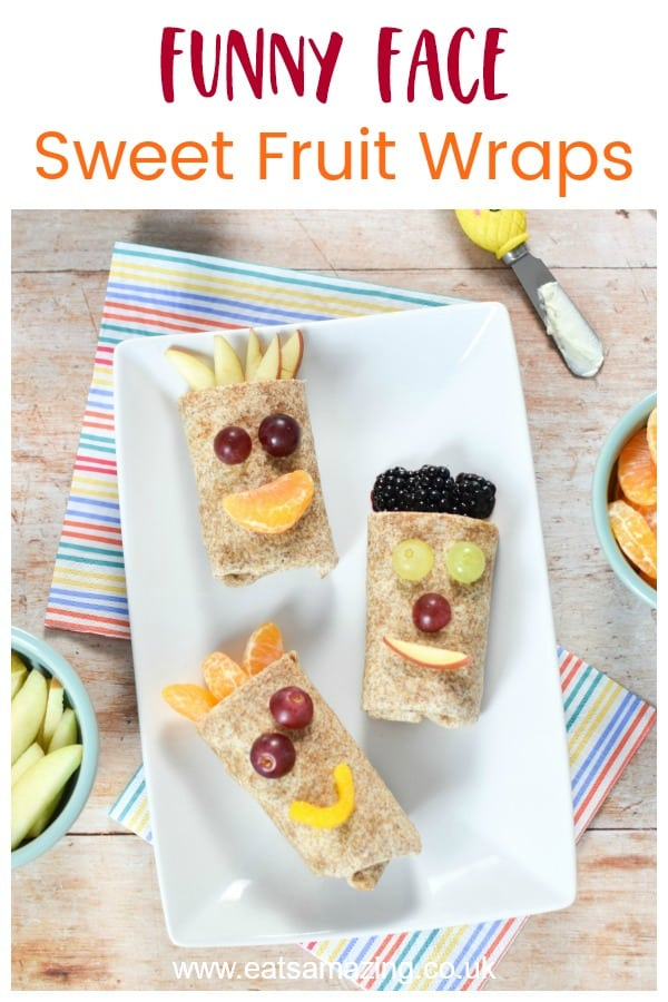 Funny Face Sweet Fruit Wraps recipe - fun food idea for kids that is perfect for healthy snacks dessert and breakfast #EatsAmazing #kidsfood #funfood #foodart #tortilla #fruit #picnic #lunchbox #breakfast #easyrecipe #recipe #cutefood #edibleart #HonestKids