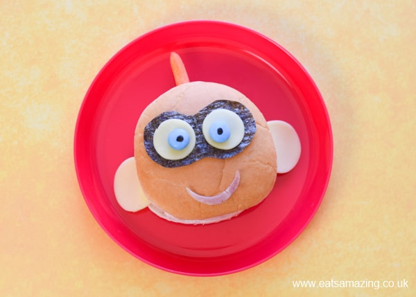 How to make a cute Incredibles 2 inspired Jack-Jack sandwich - perfect for party food or a fun kids lunch box surprise