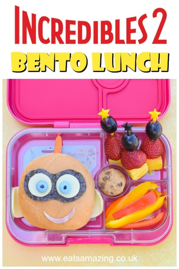 How to make a fun Incredibles 2 themed bento lunch box for kids with Jack-Jack sandwich - video tutorial and full instructions #Incredibles2 #EatsAmazing #FoodArt #KidsFood #BentoBox #Bento #Lunchbox #sandwich #KidFood #EdibleArt #SandwichArt #movie #videotutorial #funlunch #backtoschool