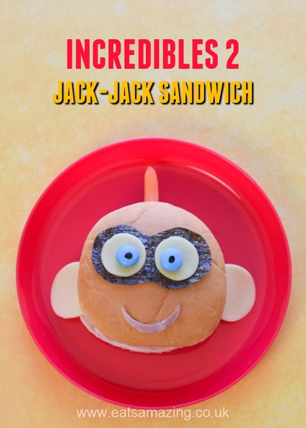 How to make a fun and easy Jack-Jack sandwich inspired by the Incredibles 2 Movie - perfect for party food and lunch boxes for kids