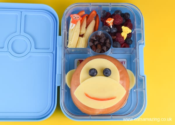 How to make a fun and easy monkey bagel bento lunch for kids - cute school lunch ideas to make them smile