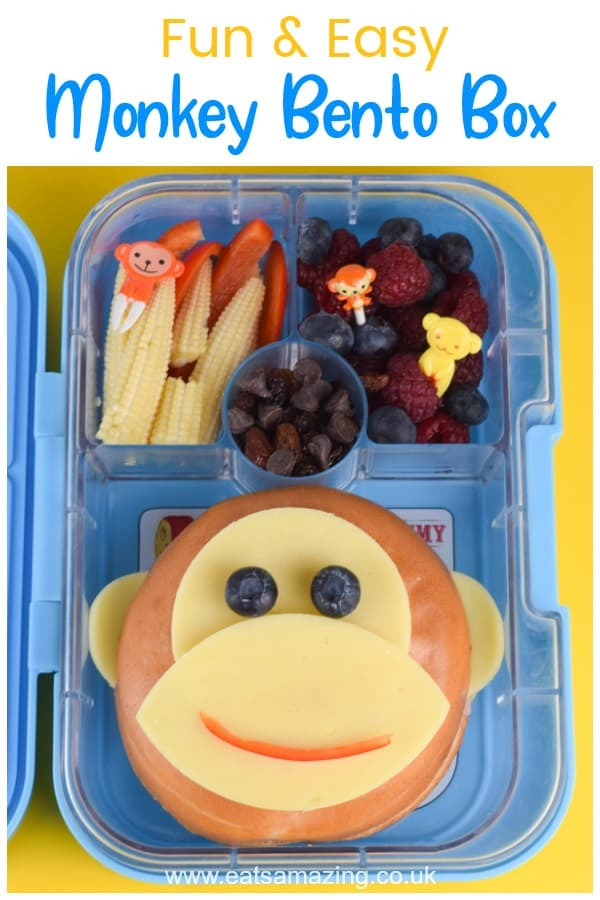 How to make a fun and easy monkey themed bento box with monkey bagel - cute school lunch idea for kids #backtoschool #bento #kidsfood #foodart #funfood #schoollunch #packedlunch #yumbox #lunchideas #bagel #cutefood #edibleart #sandwichart