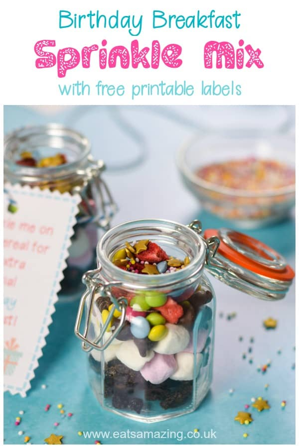 How to make a fun birthday sprinkle mix for a fun and extra special birthday breakfast for kids - with free printable labels #kidsbirthday #birthday #funfood #kidsfood #breakfastrecipes #breakfast #sprinkles #birthdaytreat #birthdaybreakfast #birthdaytraditions #sleepover