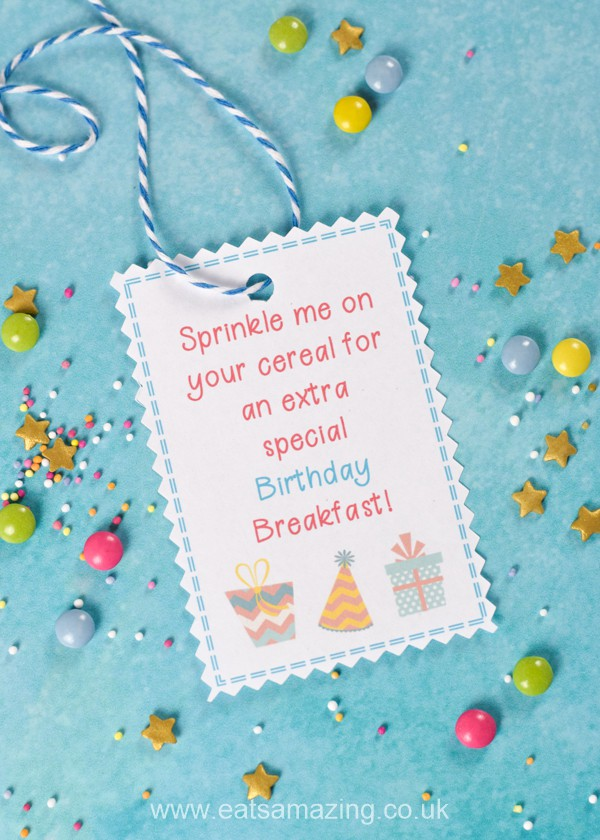 How to make a fun sprinkle mix for a special birthday breakfast - with free labels to download and print