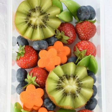 How to make a simple garden themed bento box - this fun idea is a cute way to serve up fruit and veggies to kids