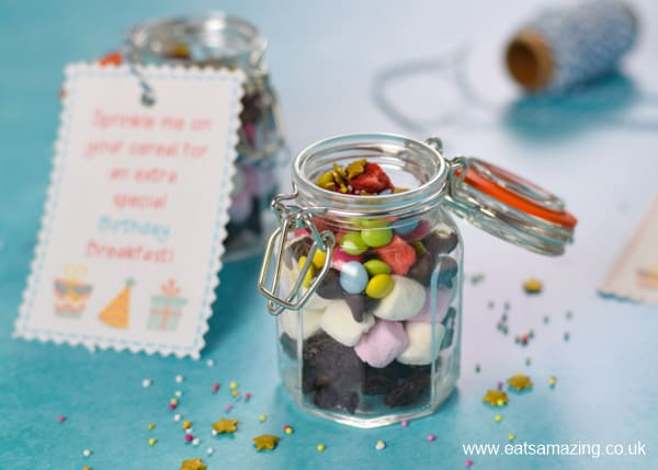 How to make a special birthday sprinkle mix to pour over cereal on your birthday - kids will love this fun recipe idea
