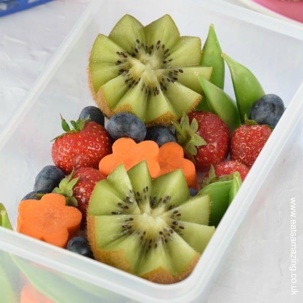 How to make an easy garden themed bento box - such a fun way to serve up fruit and vegetables to kids for lunch