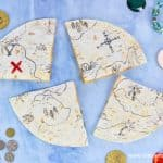 How to make fun and easy edible pirate treasure map quesadillas - perfect for pirate themed party food snacks and kids lunch boxes too