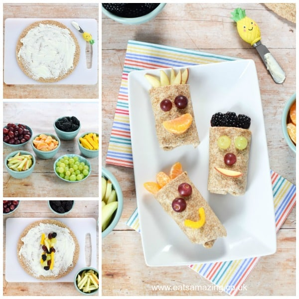 How to make funny face sweet fruit wraps - easy recipe for kids from Eats Amazing UK
