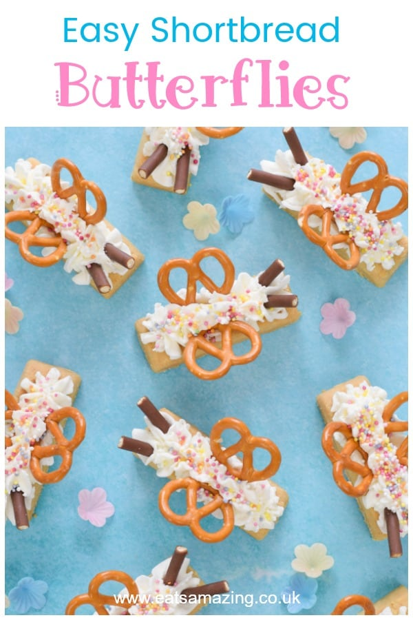 How to make quick and easy shortbread butterflies - fun party food recipe idea that kids will love #EatsAmazing #partyfood #kidsfood #foodart #cutefood #funfood #easyrecipe #summerfood #butterfly #butterflies #cookies #teaparty #kidsparty #partyideas #edibleart