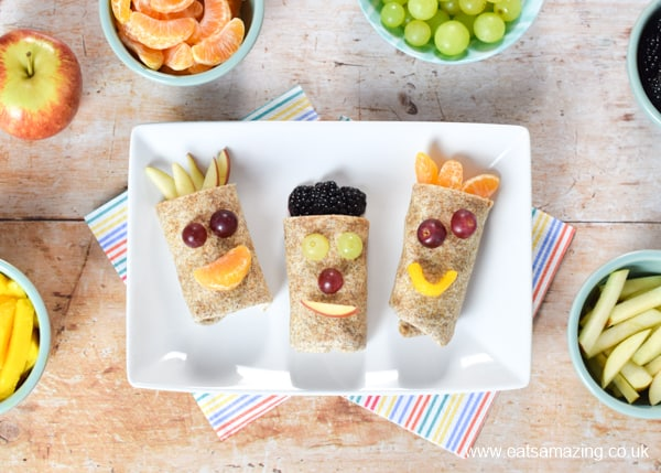 Quick and easy recipe for kids - funny face sweet fruit wraps that make a great healthy breakfast dessert or snack