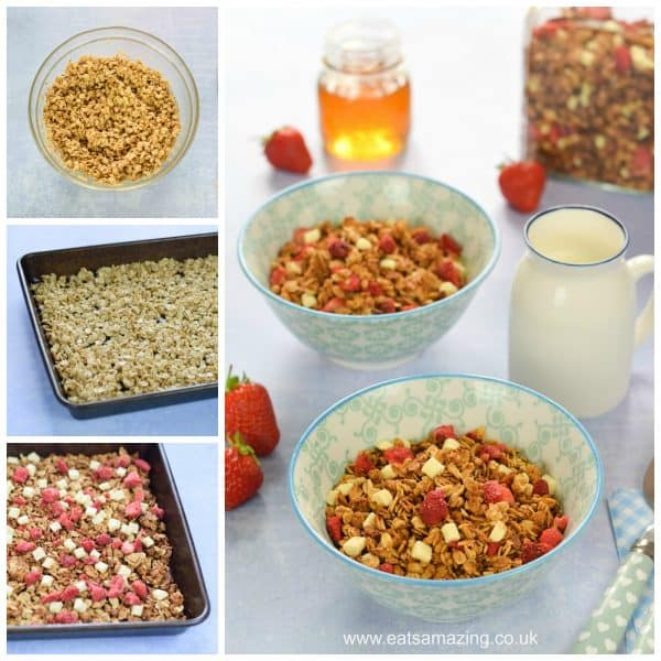 Strawberries and cream granola - easy homemade granola recipe for kids from Eats Amazing UK