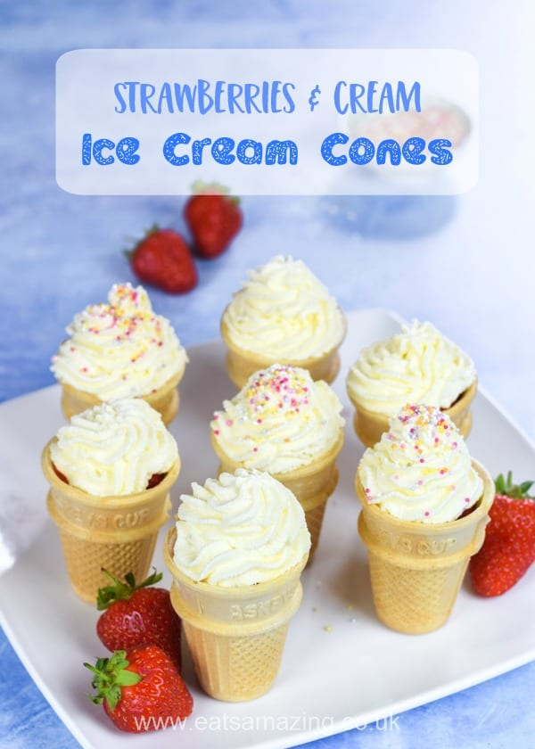 Such a great way to serve strawberries and cream this summer - fun party food idea for kids that is perfect for summer fairs too