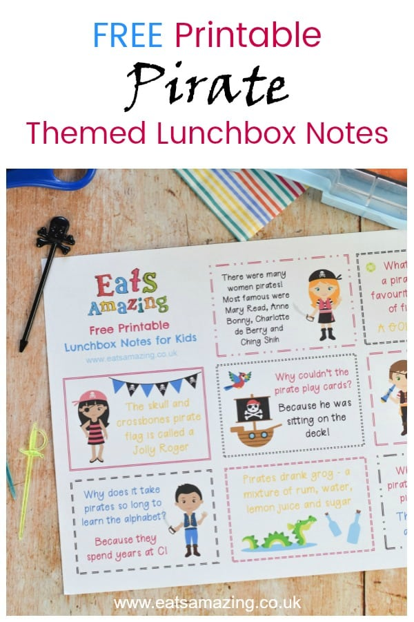 These FREE Printable Pirate Themed Lunchbox Notes for Kids are perfect for popping in a lunch box or lunch bag for a fun lunch time surprise #lunchbox #schoollunch #backtoschool #lunchboxnotes #lunchnotes #kidsfood #funfood #bento #packedlunch #printable #freeprintable #jokes #pirates #facts