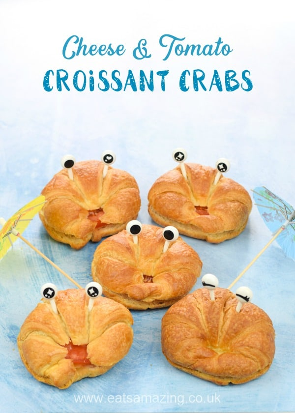 These fun and easy croissant crabs are perfect for summer party food for kids - with toasted cheese and tomato filling for a tasty party snack