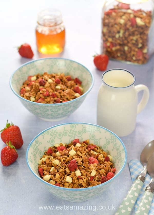 This strawberries and cream granola recipe makes a gorgeous easy summer breakfast idea the whole family will love