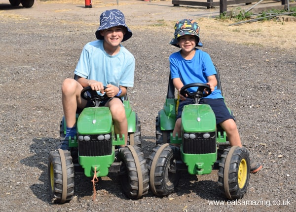 Visit to an organic farm with Honest Kids - tractors