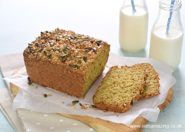 Yogurt and oat porridge bread recipe - this easy no-knead bread is naturally gluten free - no flour or yeast - perfect for a healthy family breakfast