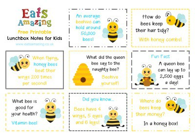 Bee themed FREE Printable Lunchbox Notes for kids - head to the blog post to download and print your own set