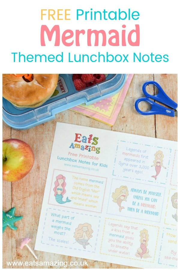 Cute Mermaid themed FREE Printable lunchbox notes set - just print and cut out for fun lunch notes to pop in your kids lunch box or school bag #mermaid #EatsAmazing #lunchbox #backtoschool #lunchboxnotes #schoollunch #lunchnotes #kidsfood #funfood #bento #packedlunch #printable #freeprintable #jokes #funfacts #facts
