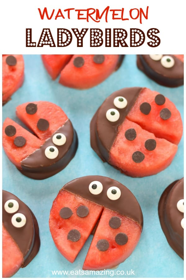 Cute and easy Watermelon Ladybirds - this fun summer snack idea is perfect for ladybug party food for kids #EatsAmazing #partyfood #kidsfood #foodart #funfood #cutefood #healthykids #watermelon #ladybirds #ladybugs #edibleart #snacks #kidsparty #summerfood