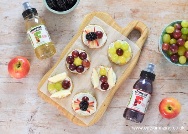 Cute and easy fruity bug oat cakes recipe - fun food art recipe for kids that is perfect for healthy snacks and party food