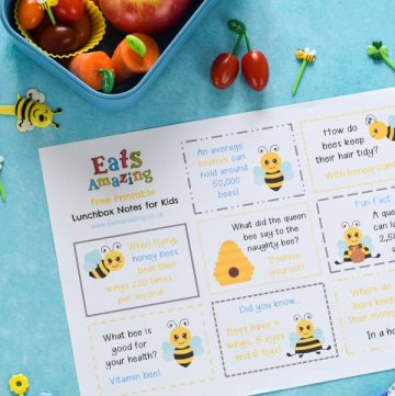 Dowload and print your FREE Bee themed lunchbox notes for kids - these fun notes make cute lunch time surprises easy - just print and cut