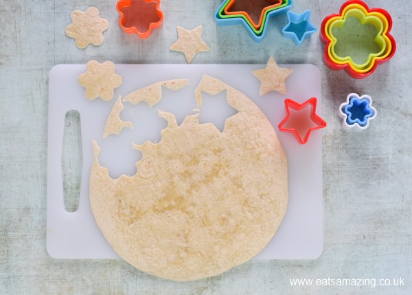 Easy Grana Padano Baked Tortilla Crisps Recipe - step 2a cut into shapes with cookie cutters