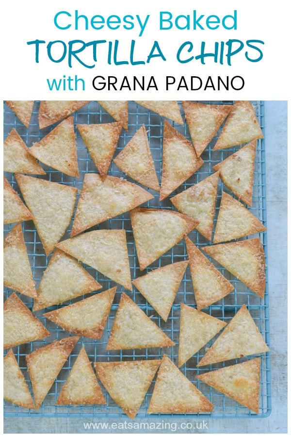 Easy homemade cheesy baked tortilla crisps with Grana Padano - delicious easy recipe for kids #EatsAmazing #tortilla #cookingwithkids #partyfood #easyrecipe #kidsfood #mexican #GranaPadano #homemade #recipe #recipe #cheese