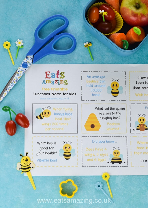 FREE Bee themed lunchbox notes for kids - download and print a set for a fun school lunch surprise your kids will love