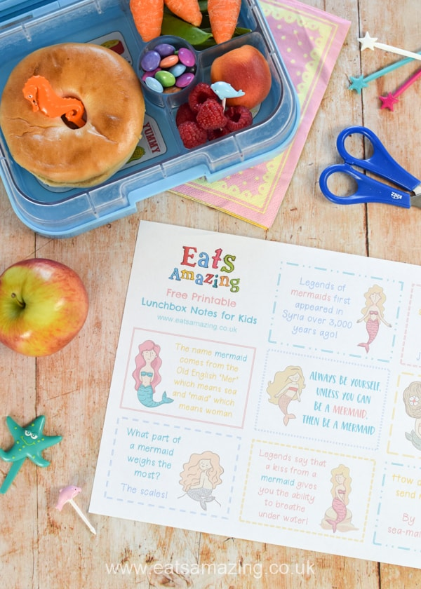 FREE Printable lunchbox notes for kids with a fun Mermaid theme - click here to download and print your free lunch notes for back to school