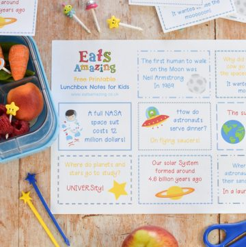 FREE Space themed lunchbox notes for kids to download and print - kids will love finding them in their lunch box for a fun lunch time surprise