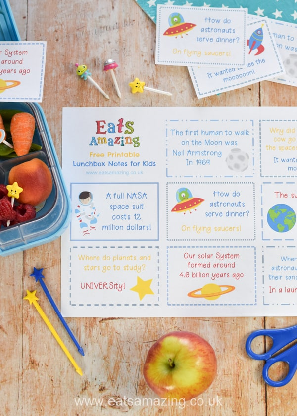 Fun Space Themed Lunchbox Notes for Kids