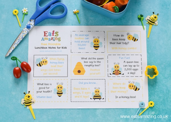 FREE lunch notes for kids - this printble set has a fun BEE theme for easy packed lunch fun your kids will love