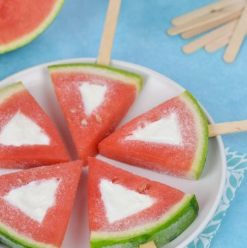 Frozen watermelon yogurt pops - easy recipe for kids that makes a great healthy summer treat