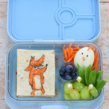Fun Big Bad Fox and Other Tales movie themed bento box lunch for kids - with video tutorial and full instructions
