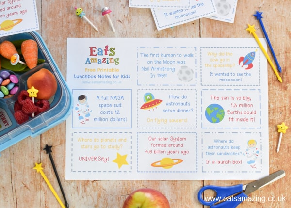 Fun Lunchbox notes for kids with a SPACE theme - these lunchbox notes are free to download and print for easy packed lunch fun