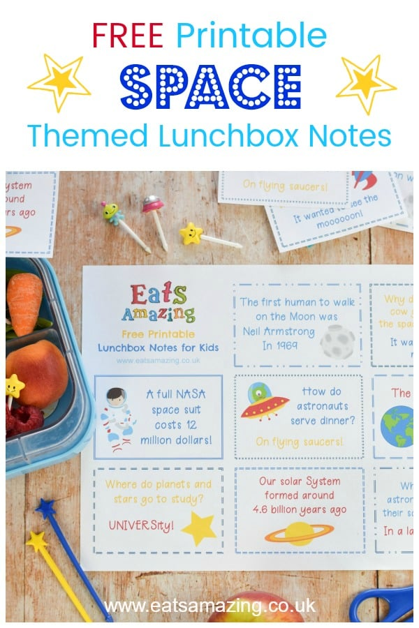Fun Space themed lunchbox notes for kids - fab for popping in lunch boxes and lunch bags - click here for your FREE download to print at home #EatsAmazing #lunchbox #backtoschool #lunchboxnotes #schoollunch #lunchnotes #kidsfood #funfood #bento #packedlunch #printable #freeprintable #jokes #funfacts #facts #space