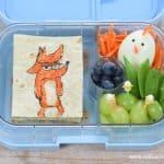 Fun The Big Bad Fox Themed Lunch for Kids with fox food art and boiled egg hen - packed in the Yumbox bento box