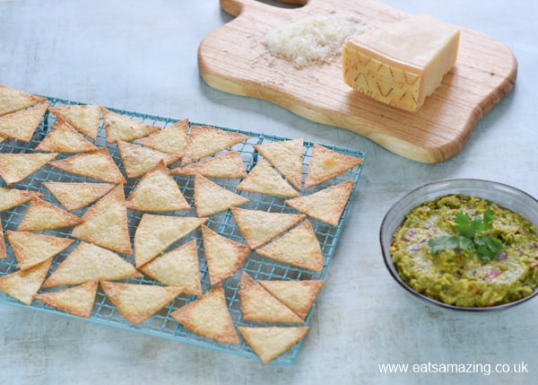 How to make Grana Padano Baked Tortilla Crisps with homemade guacamole - easy recipe for kids