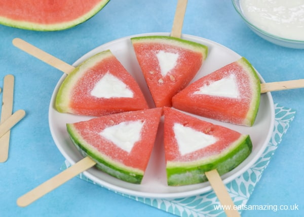 How to make easy frozen yogurt watermelon pops - fun and healthy summer snack for kids