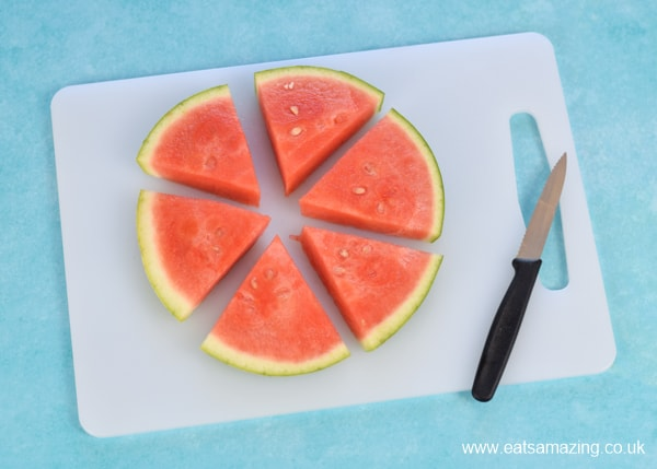 How to make frozen watermelon yogurt pops - easy recipe for kids step 1 - slice melon into triangles