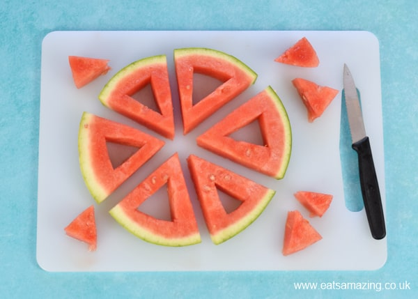 How to make frozen watermelon yogurt pops - easy recipe for kids step 2 remove a triangle from the centre or each melon wedge