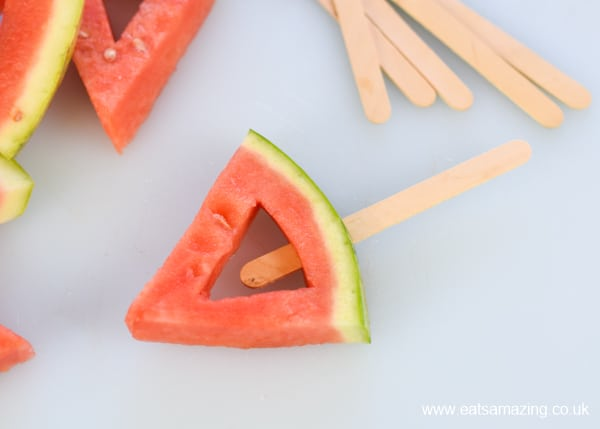 How to make frozen watermelon yogurt pops - easy recipe for kids step 4 push a lolly stick into each watermelon slice