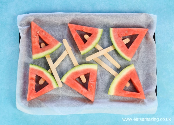 How to make frozen watermelon yogurt pops - easy recipe for kids step 5 place on a lined tray
